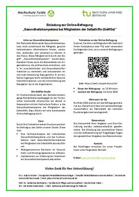 Online-Befragung Gesundheitskompetenz bei Mitgliedern der Selbsthilfe